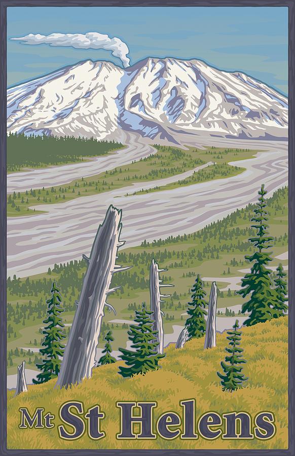 Vintage Mount St. Helens Travel Poster Digital Art