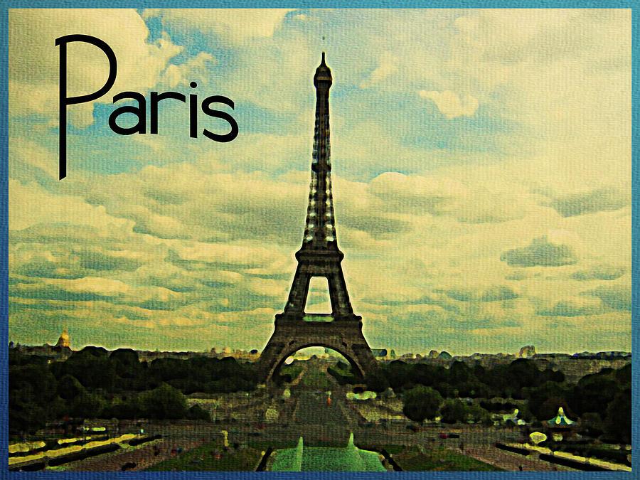 Vintage Paris Eiffel Tower Digital Art By Flo Karp