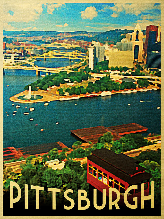 Vintage Pittsburgh Pennsylvania Digital Art  - Vintage Pittsburgh Pennsylvania Fine Art Print