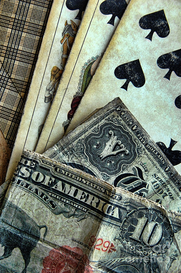 Vintage Playing Cards And Cash Photograph