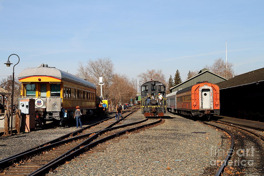 Vintage Railroad Trains In Old Sacramento California . 7d11513 Photograph  - Vintage Railroad Trains In Old Sacramento California . 7d11513 Fine Art Print