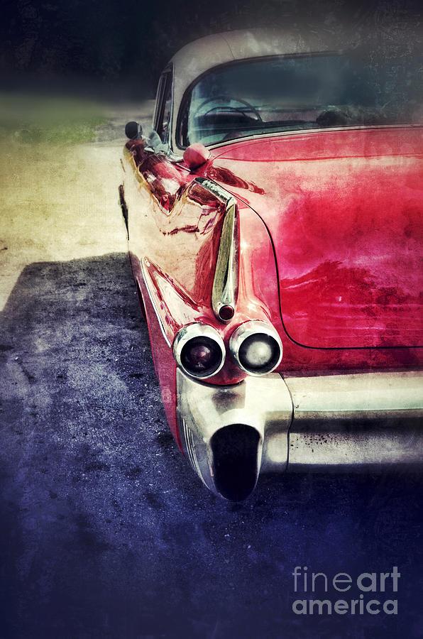 Vintage Red Car Photograph
