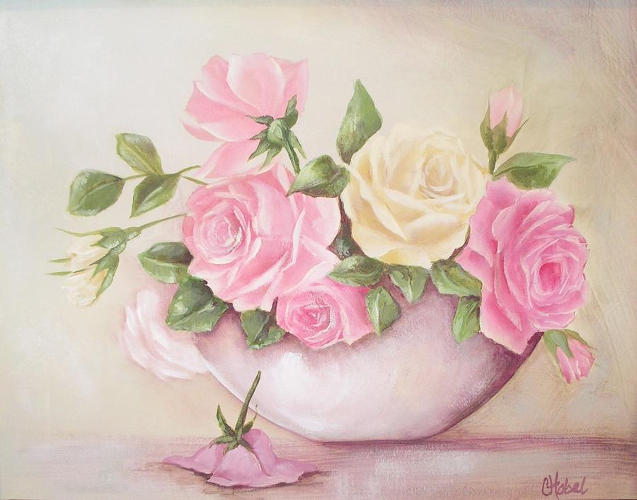 vintage roses shabby chic roses painting print by chris hobel. Black Bedroom Furniture Sets. Home Design Ideas
