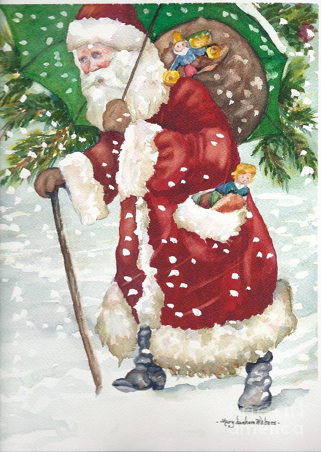 Vintage Santa In Red Painting by Mary Dunham Walters