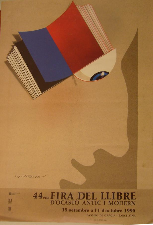 Vintage Drawing - Vintage Spanish Poster 44 Fira Del Llibre Docasion Antic Y Modern Barcelona  by P Narbona