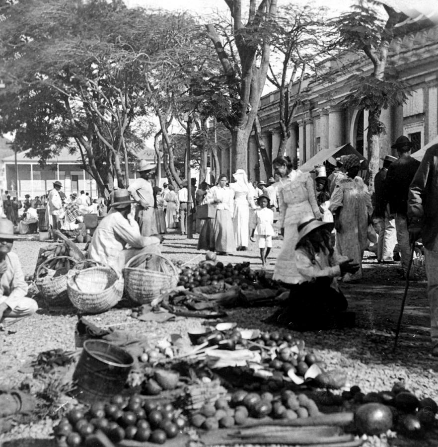 Vintage Street Scene In Ponce - Puerto Rico - C 1899 Photograph