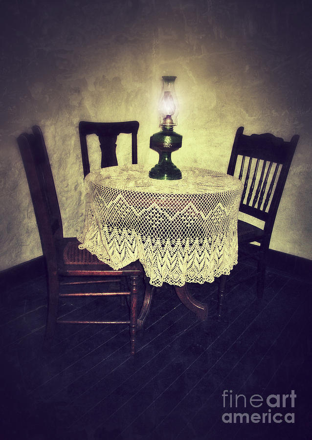 Vintage Table And Chairs By Oil Lamp Light Photograph  - Vintage Table And Chairs By Oil Lamp Light Fine Art Print