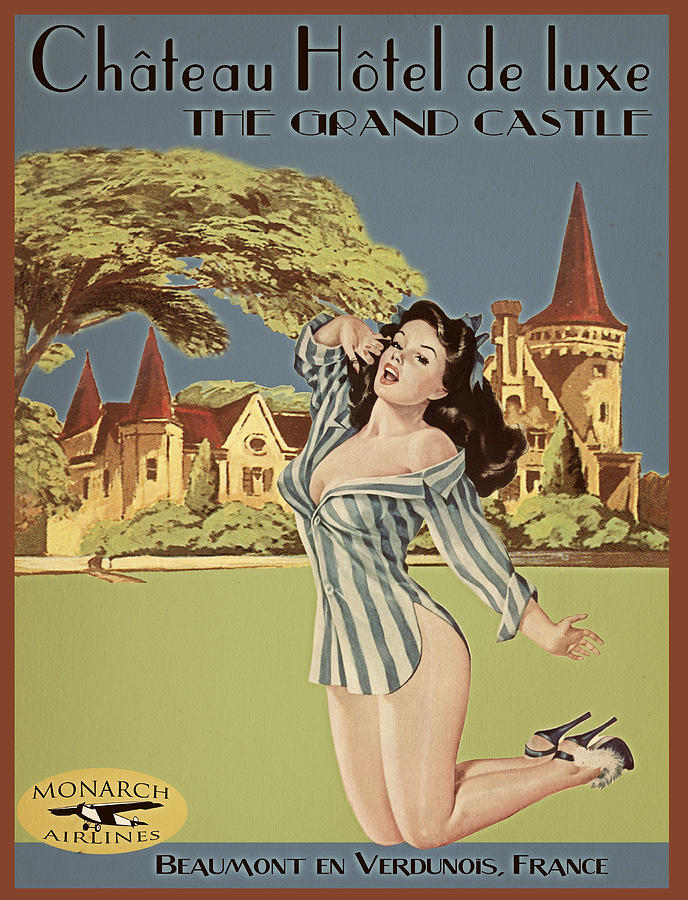 Vintage Travel Poster The Grand Castle Painting  - Vintage Travel Poster The Grand Castle Fine Art Print