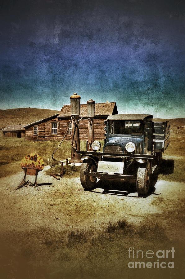 Vintage Vehicle At Vintage Gas Pumps Photograph