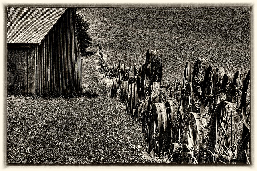 Vintage Wheel Fence Photograph