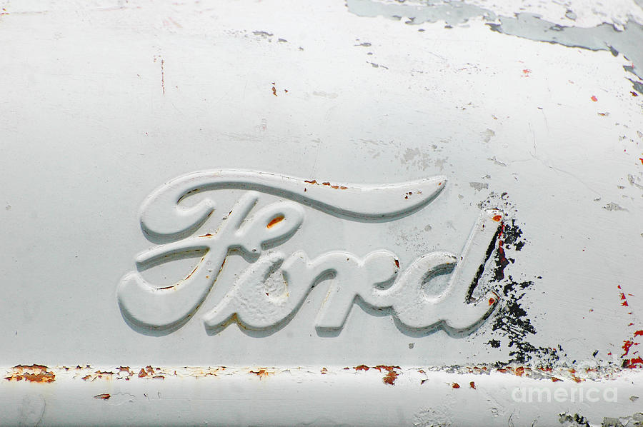 Vintage White Ford Sign Pyrography