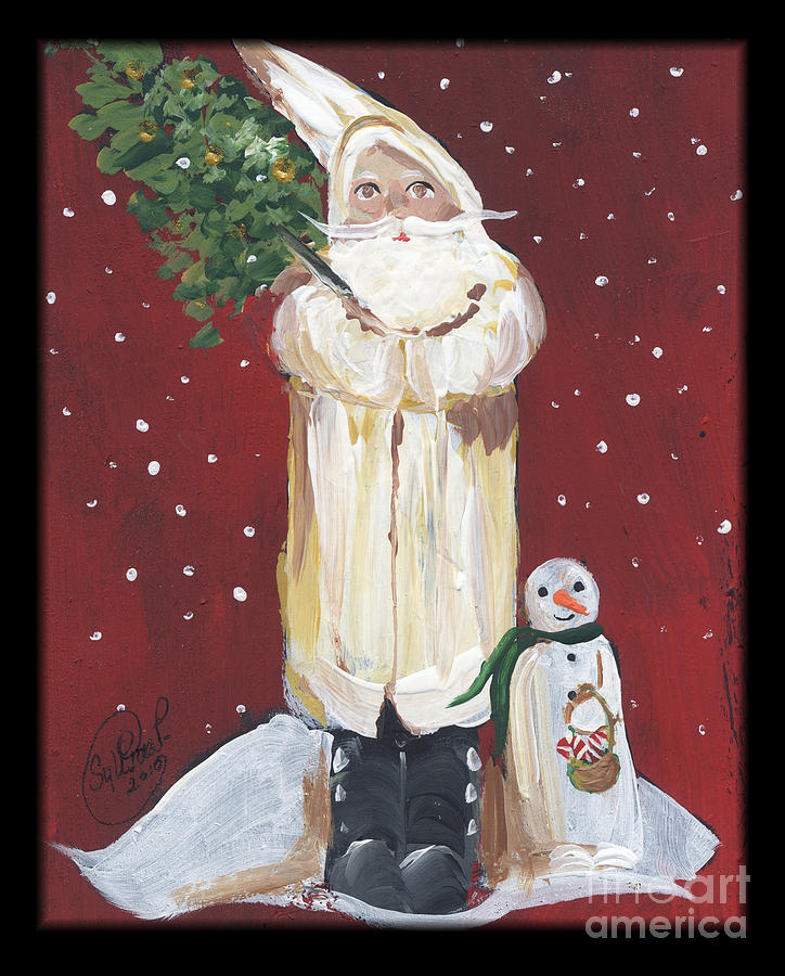 Vintage White Santa Claus Painting by Sylvia Pimental