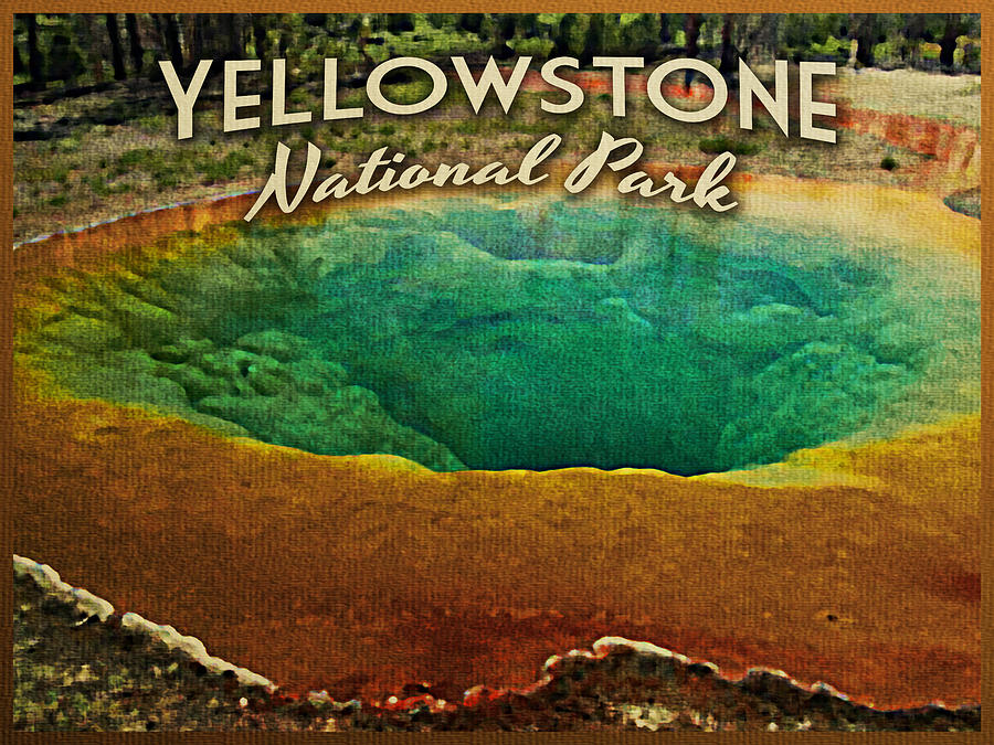 Vintage Yellowstone National Park Digital Art
