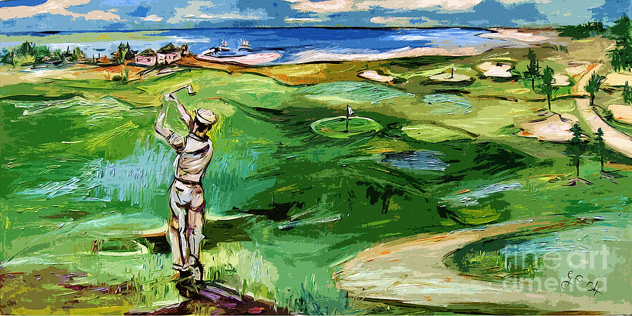 Vintge Golfer By The Sea Painting