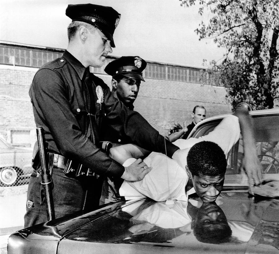 Violence In Los Angeles Street. Police Photograph