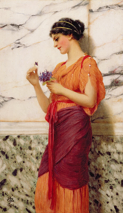 Violets is a painting by John William Godward which was uploaded on ...