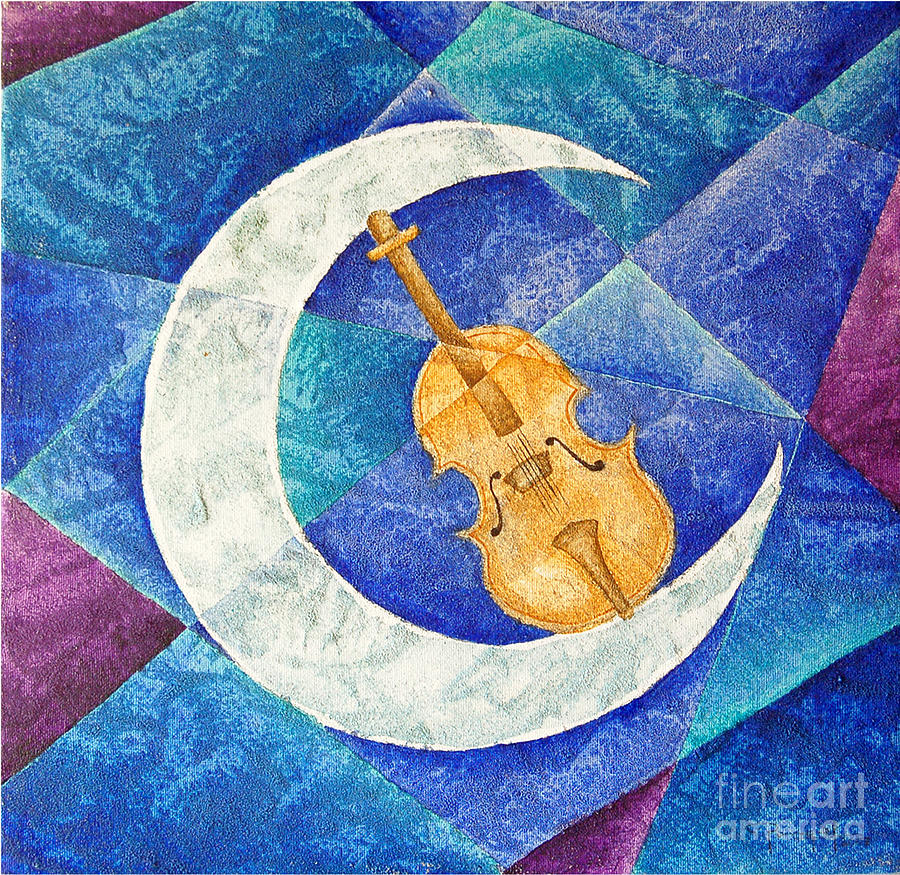 Violin-moon Painting  - Violin-moon Fine Art Print