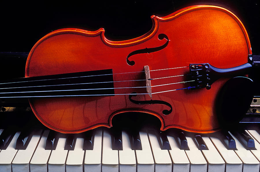 Violin On Piano Keys Photograph