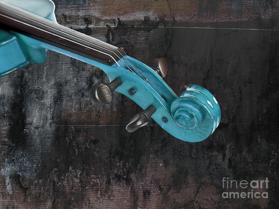 Violin Photograph - Violinelle - Turquoise 05a2 by Variance Collections