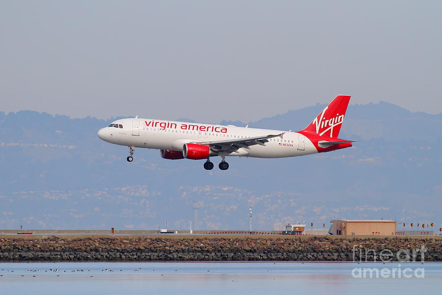Virgin America Airlines Jet Airplane At San Francisco International Airport Sfo . 7d12180 Photograph  - Virgin America Airlines Jet Airplane At San Francisco International Airport Sfo . 7d12180 Fine Art Print