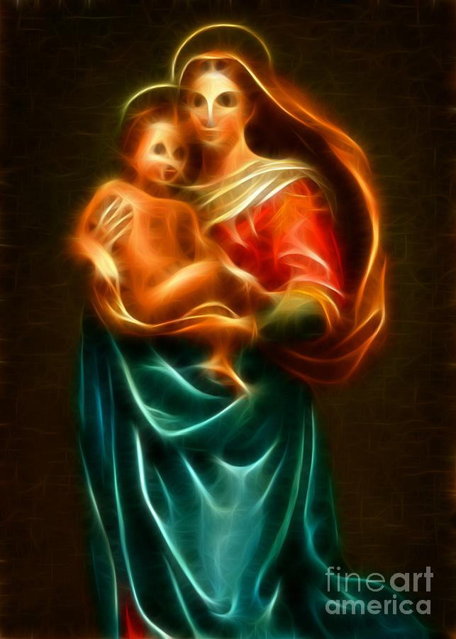 Virgin Mary And Baby Jesus Mixed Media