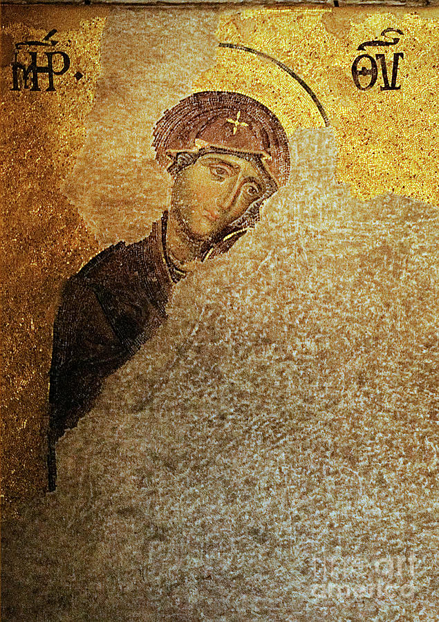 Virgin Mary-detail Of Deesis Mosaic  Hagia Sophia-day Of Judgement Photograph  - Virgin Mary-detail Of Deesis Mosaic  Hagia Sophia-day Of Judgement Fine Art Print