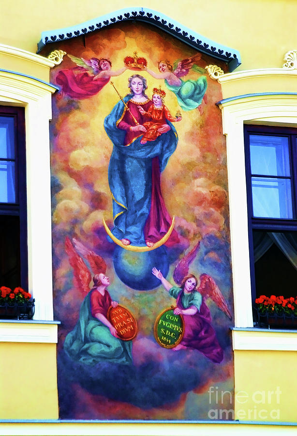 Virgin Mary Mural Photograph - Virgin Mary Mural by Mariola Bitner