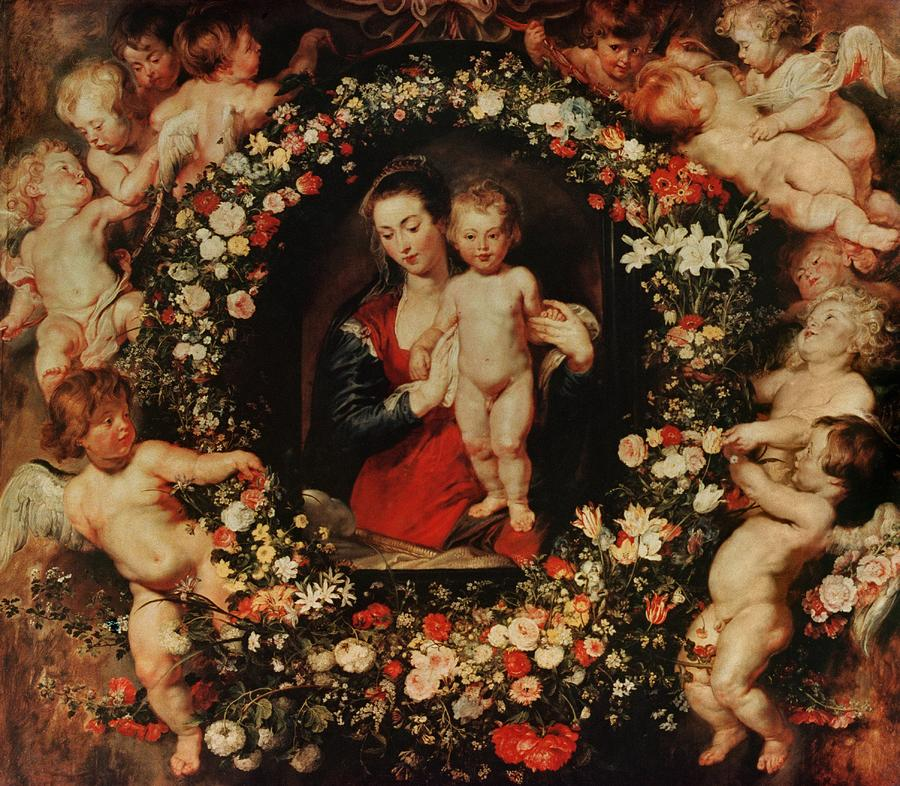 Virgin With A Garland Of Flowers Painting  - Virgin With A Garland Of Flowers Fine Art Print