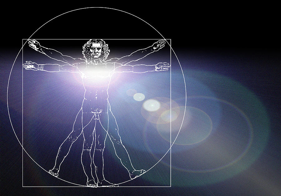 Vitruvian Man Photograph - Vitruvian Man With Flare In Chest by Laguna Design
