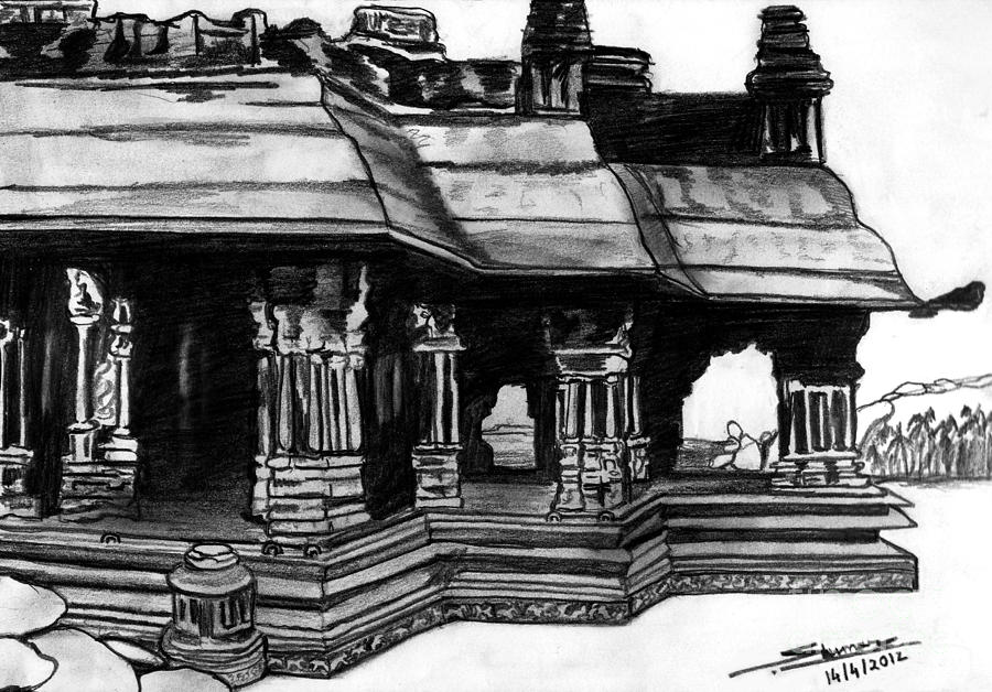 Vittala Temple Hampi Drawing  - Vittala Temple Hampi Fine Art Print