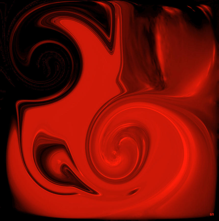 Vivid Red Vase    Pottery Collection Digital Art  - Vivid Red Vase    Pottery Collection Fine Art Print