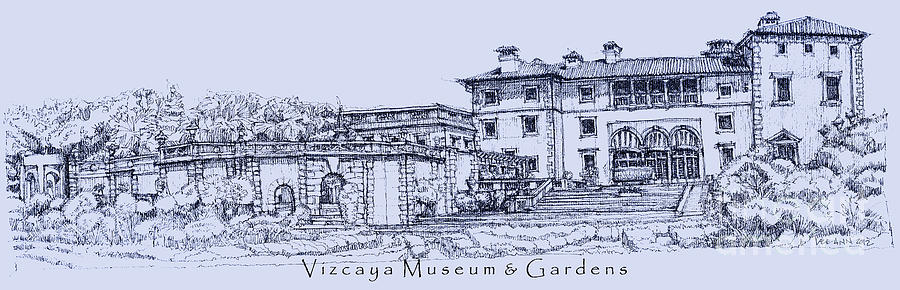 Vizcaya Museum In Blue Drawing  - Vizcaya Museum In Blue Fine Art Print