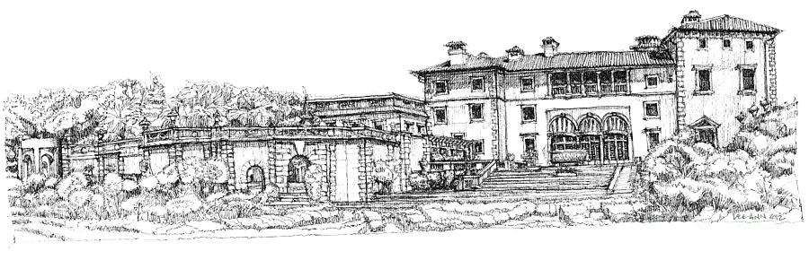 Vizcaya Museum In Miami Drawing  - Vizcaya Museum In Miami Fine Art Print