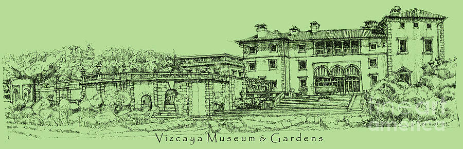 Vizcaya Museum In Olive Green Drawing