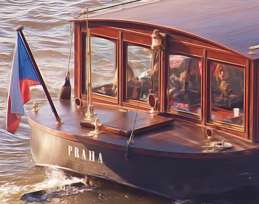 Vltava River Boat Painting