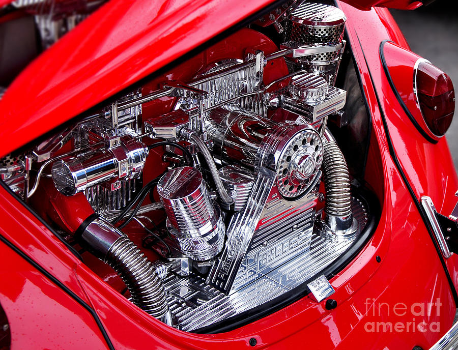 Vw Beetle With Chrome Engine Photograph  - Vw Beetle With Chrome Engine Fine Art Print
