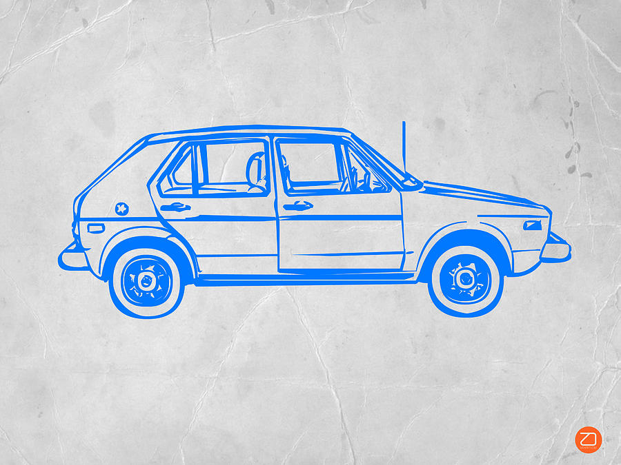 Vw Golf Drawing  - Vw Golf Fine Art Print