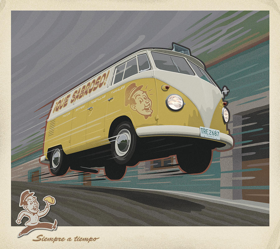 Vw Van High Speed Delivery Digital Art