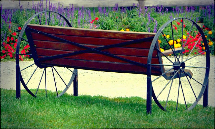 Wagon Wheel Bench By Lori Seaman