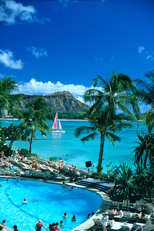 Waikiki And Sailboat Photograph
