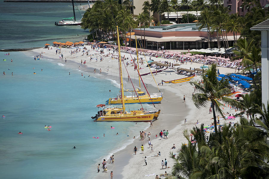Waikiki Beach And Catamarans Photograph  - Waikiki Beach And Catamarans Fine Art Print