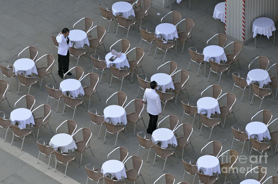 Waiters At Empty Cafe Terrace On Piazza San Marco Photograph  - Waiters At Empty Cafe Terrace On Piazza San Marco Fine Art Print