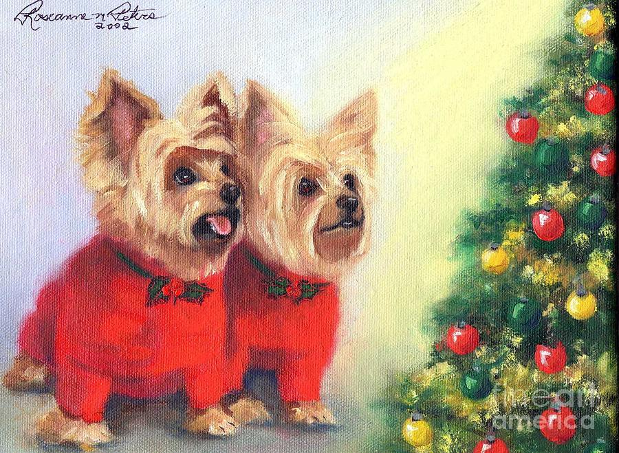 Waiting For Santa Dog Painting  - Waiting For Santa Dog Fine Art Print