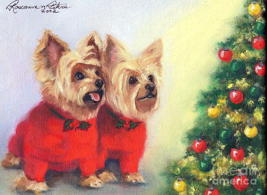 Waiting For Santa Dog Painting