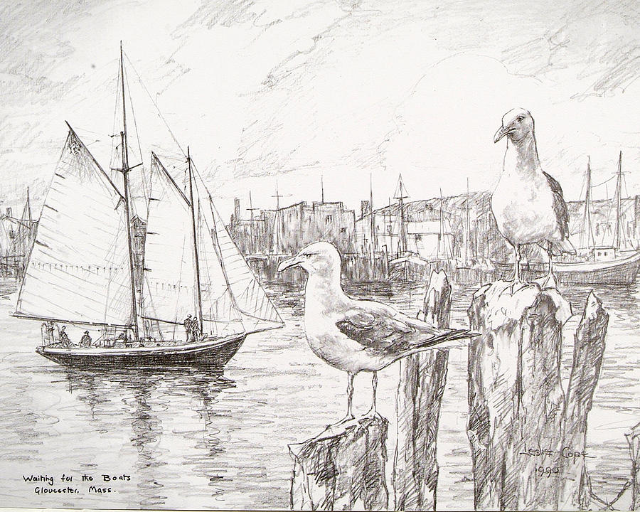 Port Drawing - Waiting For The Boats by Leslie Cope