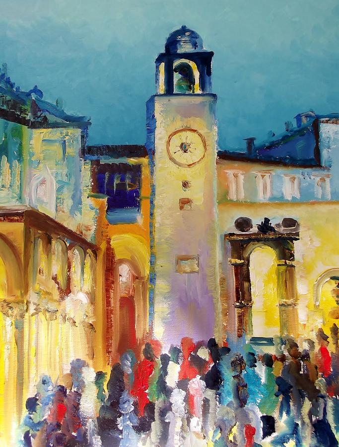 Waiting For The Midnight Chimes In Dubrovnik Painting