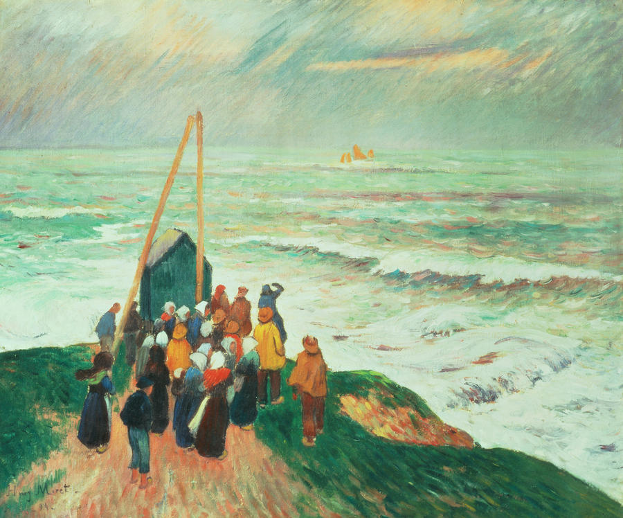 Waiting For The Return Of The Fishermen In Brittany Painting