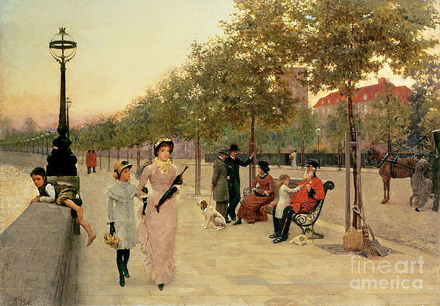 Chelsea Pensioner; Bench; Street Light; Umbrella Painting - Walk Along The Embankment At Chelsea by Frederick Brown