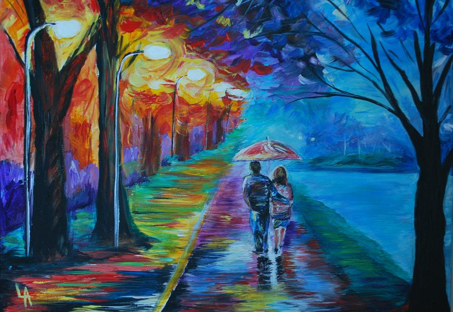 Walk By The Lake  Painting