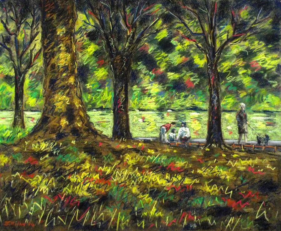 Walk In The Park Pastel  - Walk In The Park Fine Art Print